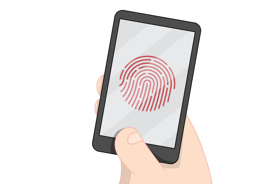 An illustration of a smartphone with a fingerprint on the screen.