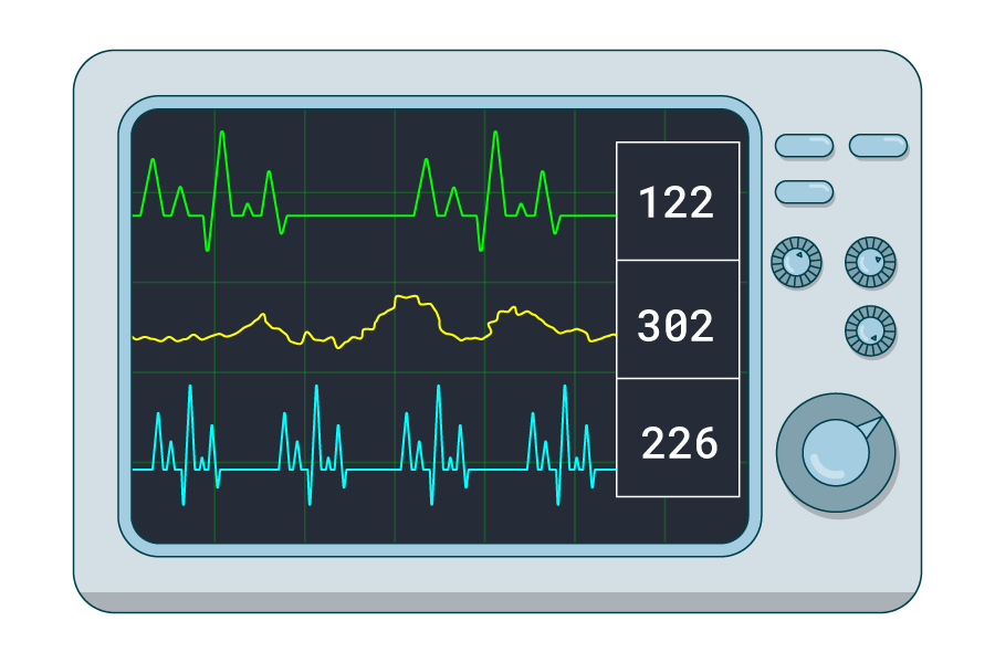 An image of a pacemaker or a monitor displaying the heartbeat rate of a person
