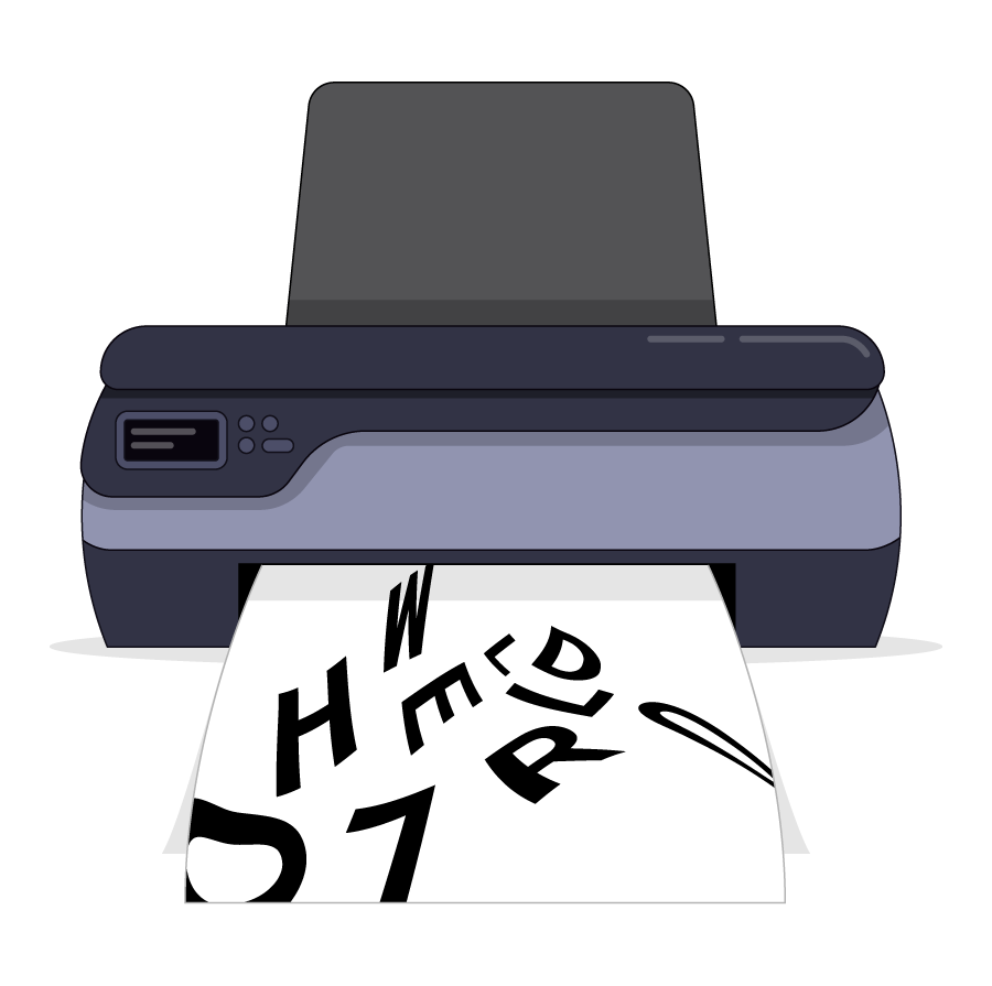 A printer with a piece of paper being printed with text and images or messing up a print job with jumbled words
