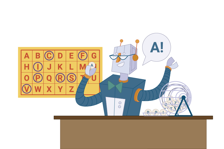 robot playing bingo, they have pulled out an A and there is board behind them with alphabet on it, 'C, F, I, P, R, S & V' have been circled on the board