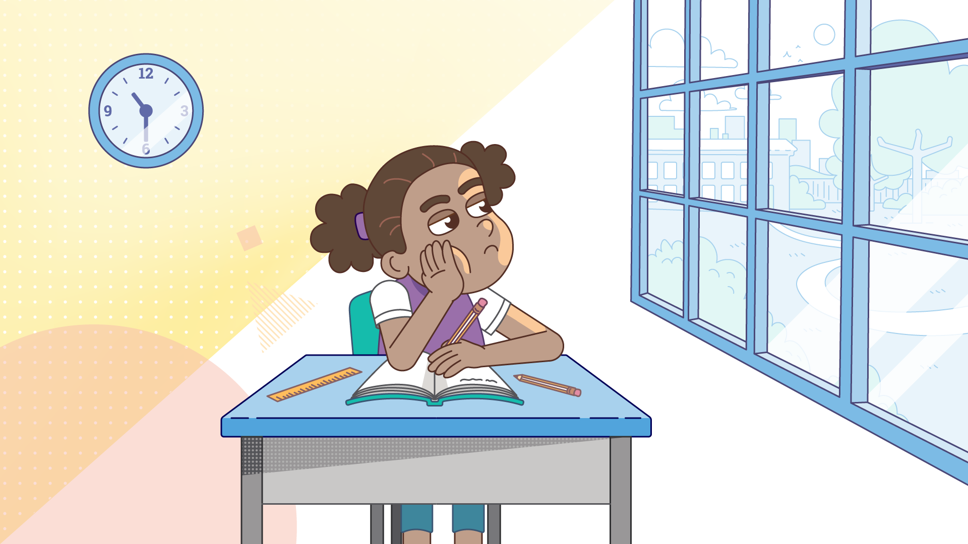 image of student at a desk in a classroom gazing out of window