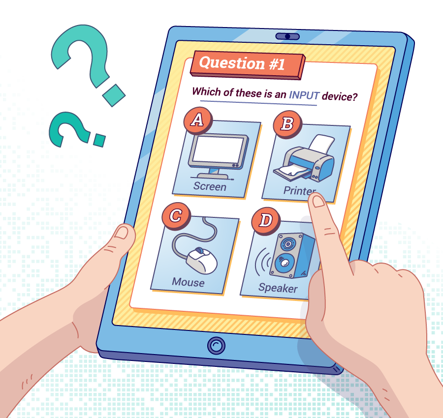 image of student's hand selecting a multiple choice question on a tablet