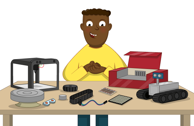 An illustration of a man rubbing his hands behind a table covered with various tech including a 3D printer, a laser cutter, and a robot with treads.