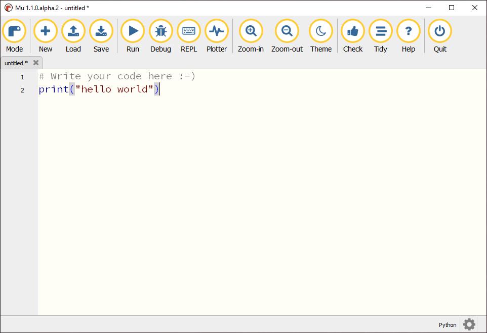 Image of Mu python editor with a simple hello world program
