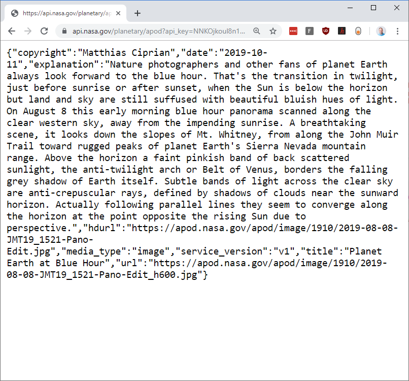 Image of web browser open to the NASA API example URL
