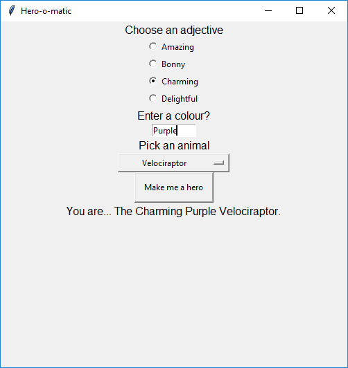 A screenshot of the GUI created using the code above, similar in style to the sketch plan earlier in the step.