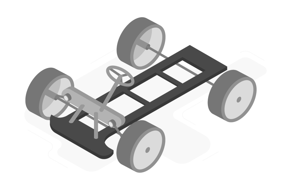 The chassis of an automobile showing the wheels, axels and steering wheel attached to the frame