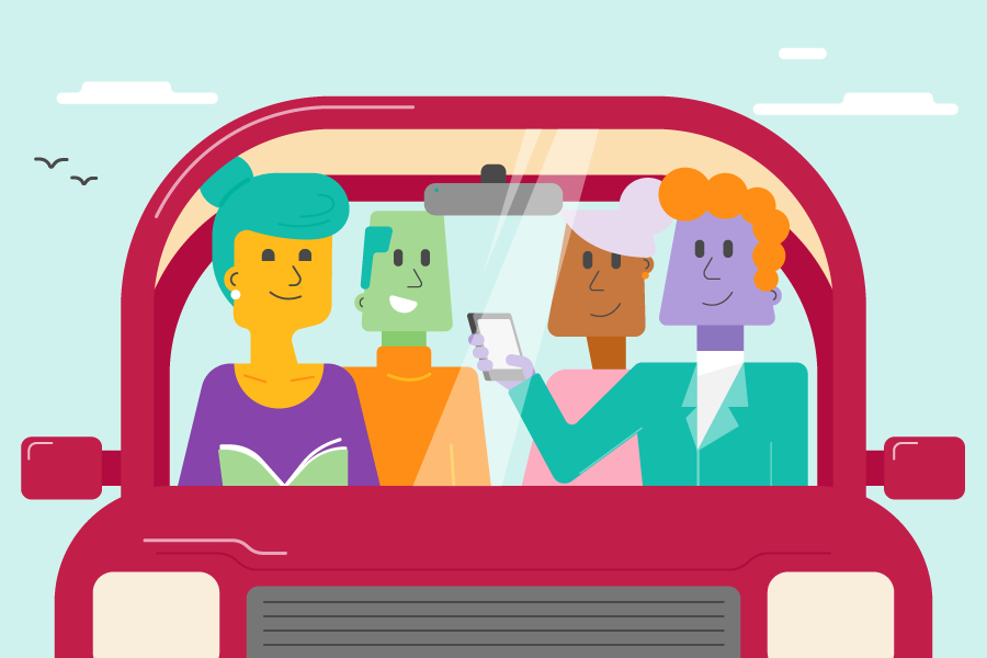 A car, driving down a road with passengers inside. There are four passengers and they are all facing each other - clearly no one is driving.