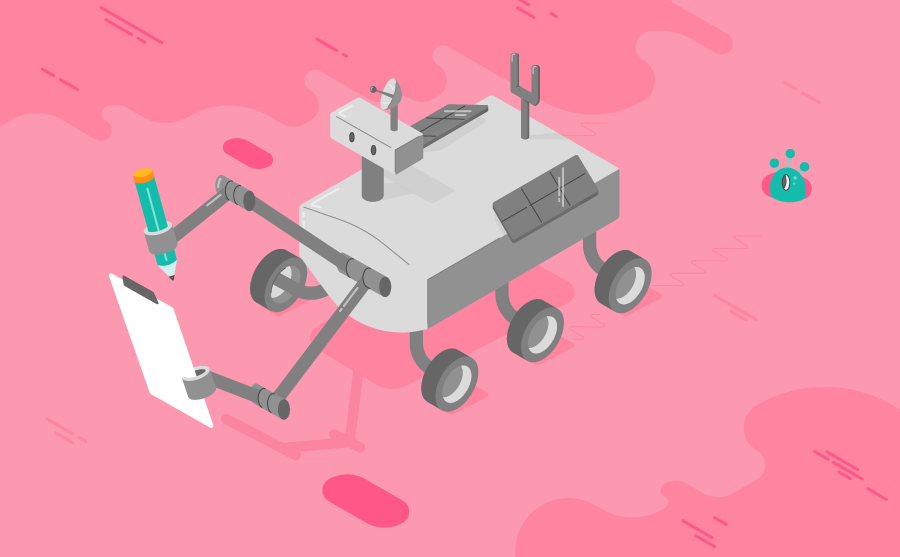 A rover on the surface of a Mars like planet which is collecting data on a clipboard. There are various sensors and modules on the robots body - a satellite dish, solar panels and a weather vein
