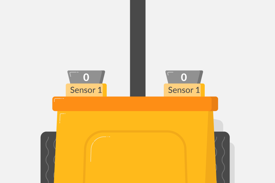 A robot buggy with a black line under the centre of it. The two line sensors on the buggy are either side of the line, and are both outputting 0.