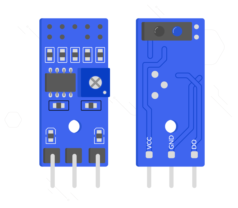 An illustration of both sides of a line sensor. The top shows three pins and a potentiometer (blue box with white dial). The bottom side shows a black and red IR emitter and receiver as well as three pins with labels VCC, GND, & DO.