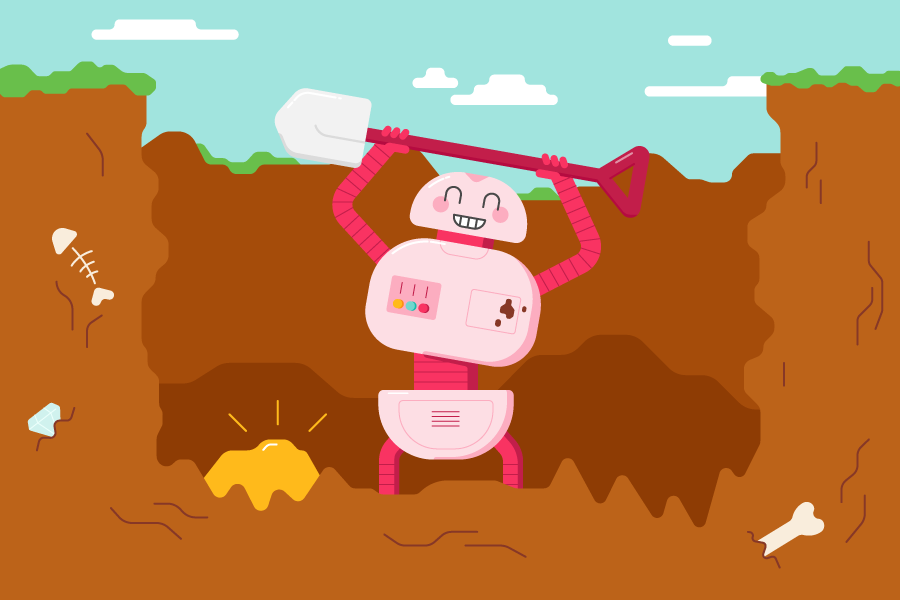 A robot that has dug a hole looking really happy because it has found gold!