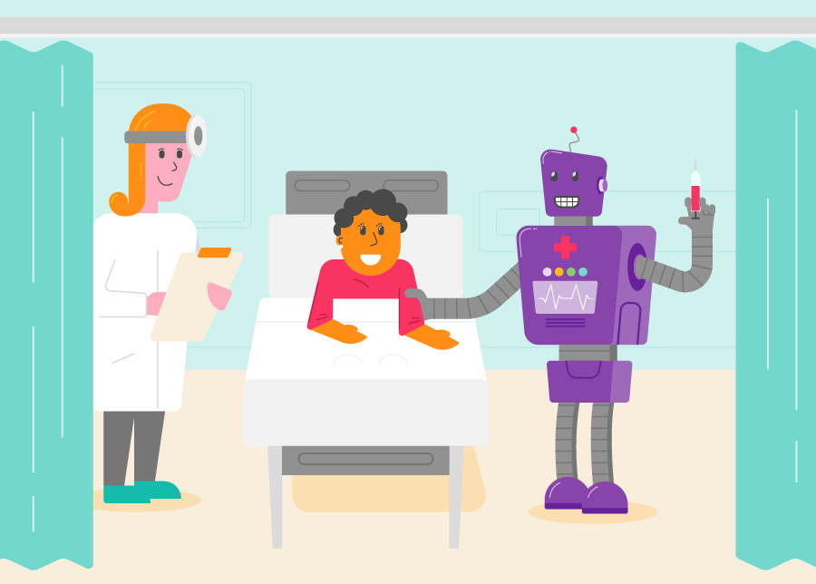 A doctor robot, attending a patient in a bed. The patient is smiling but looks slightly uneasy.