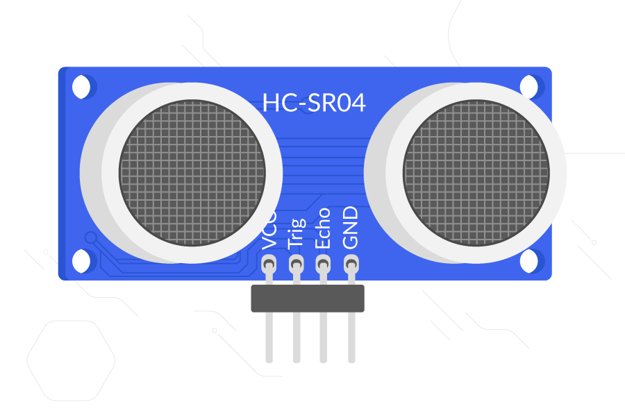 An HC-SR04 ultrasonic distance sensor showing the emitter and receiver. The four pins are labelled (left to right) VCC, Trig, Echo, and GND.