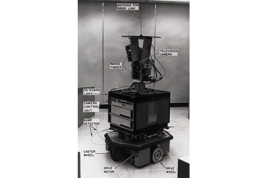 The Shakey mobile robot, with its TV camera, range finder and bump detectors labelled.