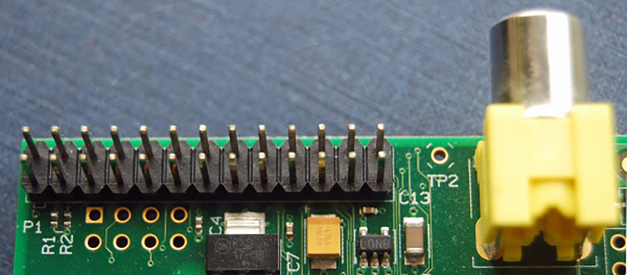 The GPIO pins on a Raspberry Pi 1 with a 26 pin header