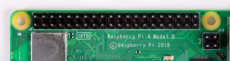 The GPIO pins on a Raspberry Pi 4 with a 40 pin header