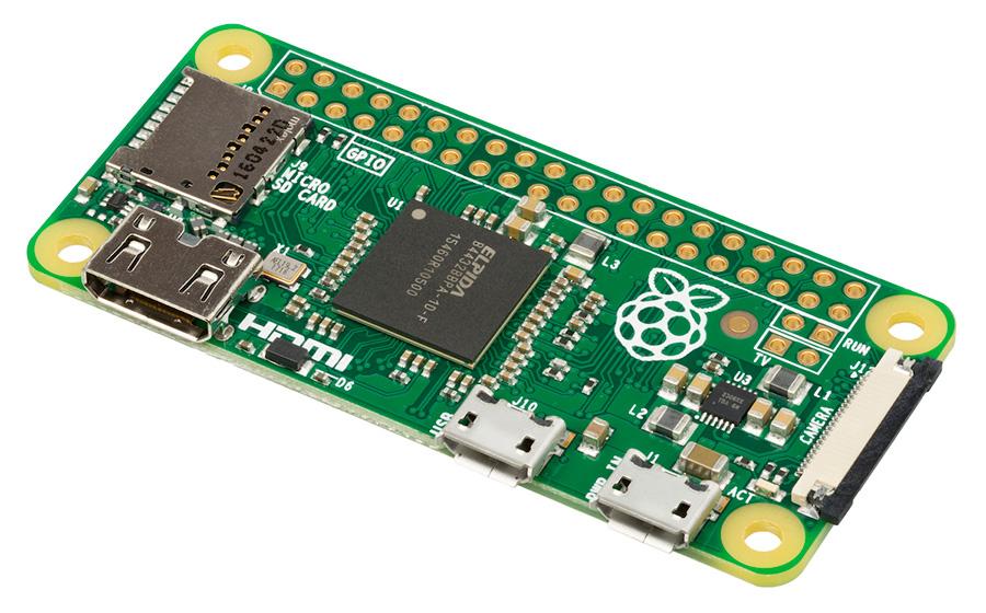 A Raspberry Pi Zero with a solder-less header