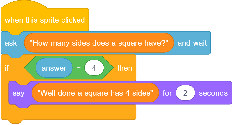"Scratch blocks. ""When this sprite clicked"" followed by ""ask ""How many sides does a square have?"" and wait"", The next block is ""if answer = 4 then"", and this block contains ""say ""Well done a square has 4 sides"" for 2 seconds"""