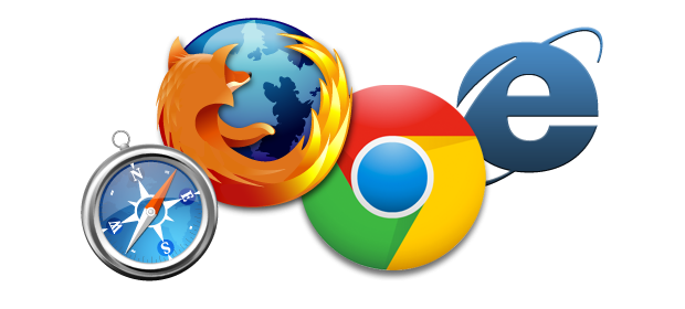 Browser icons for Safari, Firefox, Chrome and Explorer