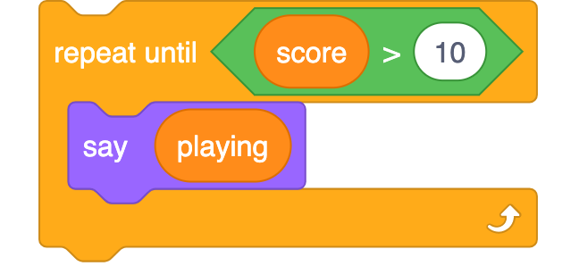repeat until score >10 block with a say playing block within the repeat until block