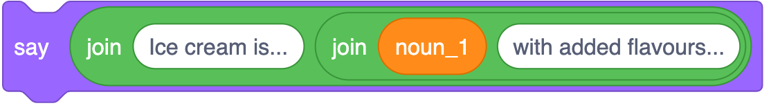 A noun 1 variable in a join block alongside 'with added flavours'. This is  within another join block alongside 'ice cream is'. This outer join block is in a say block