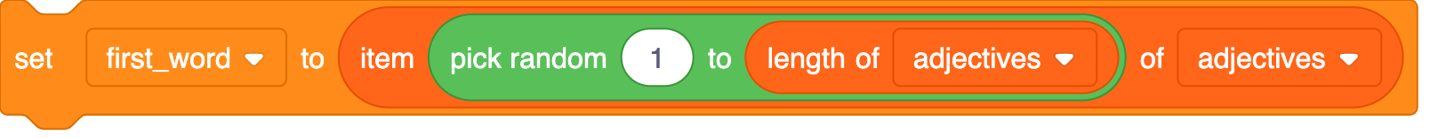 A set of nested Scratch blocks. A 'length of adjectives' block sits inside the second gap of a 'pick random 1 to' block. The 'pick random' block is inside the first gap of an 'item of adjectives' block. This 'item' block is used within a 'set first_word to' block.