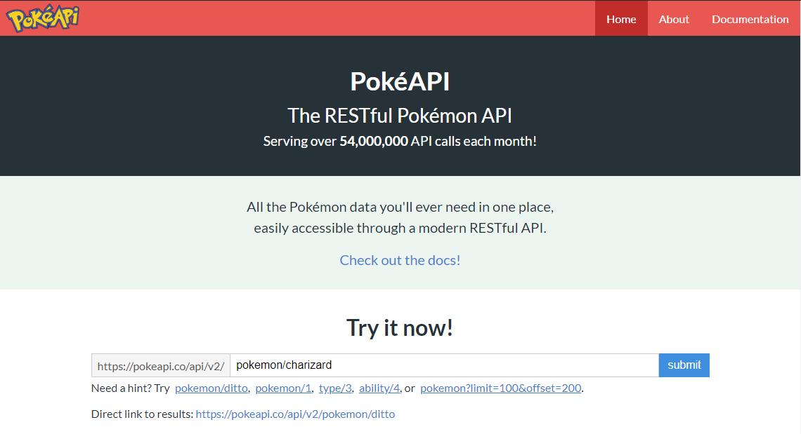 Screenshot of the pokeapi.co website