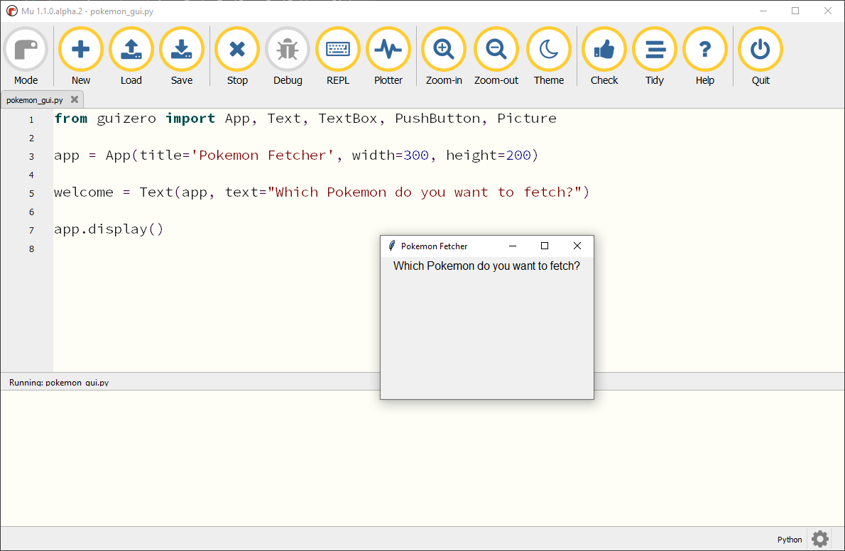 Pokémon-fetcher window, with the message displayed at the top