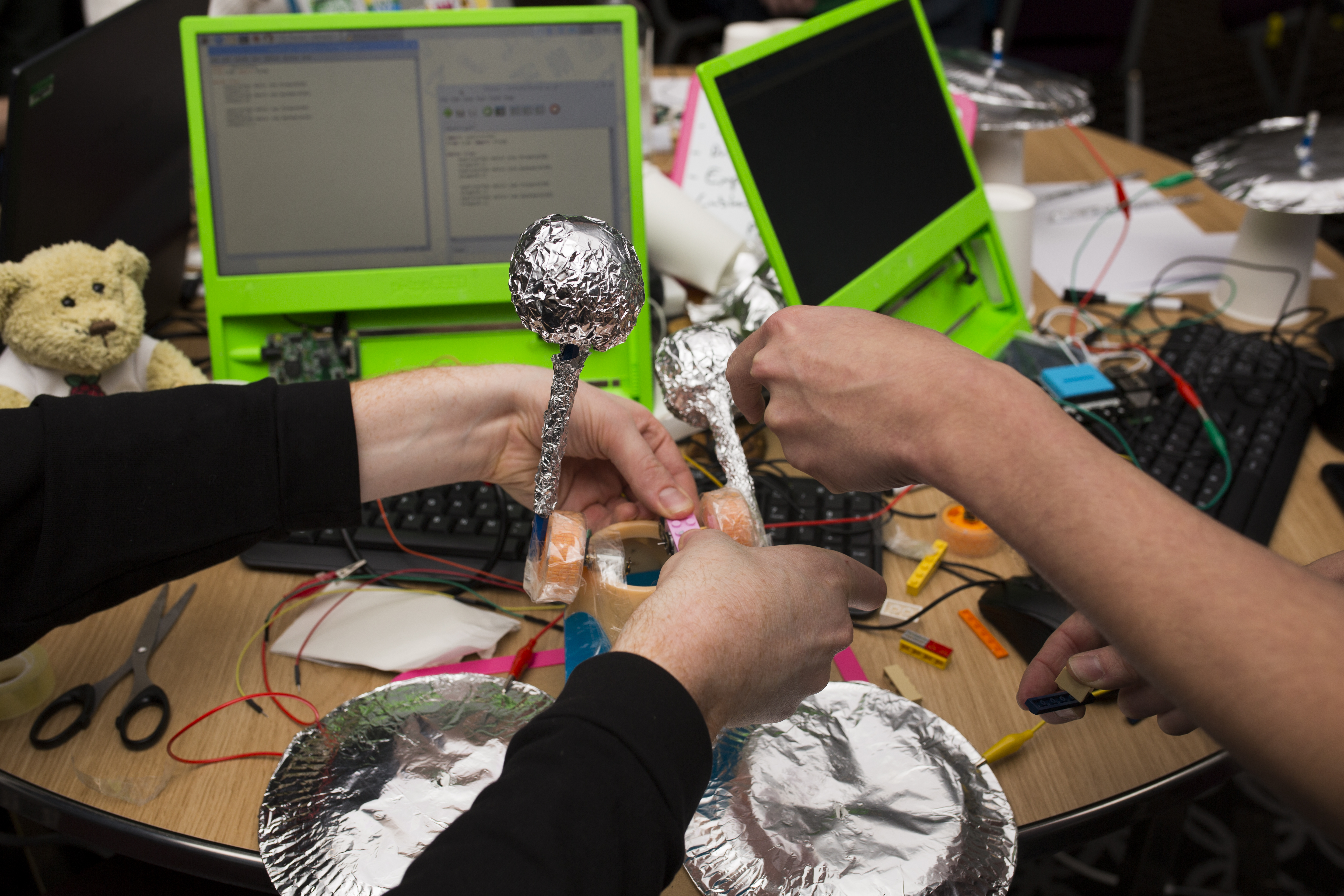 A physical computing project, consisting of wired components and foil joysticks used to control the behaviour of a Raspberry Pi